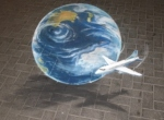 pavement art 3d globe Ulla Taylor Air NZ plane globe